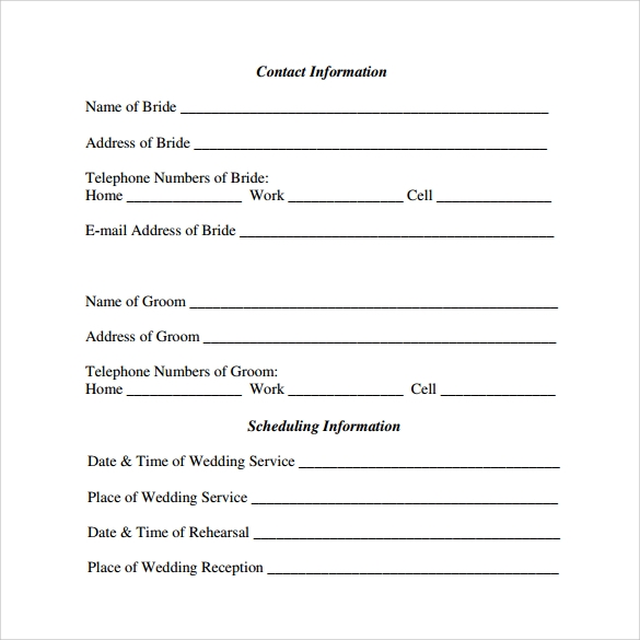 wedding agenda for free