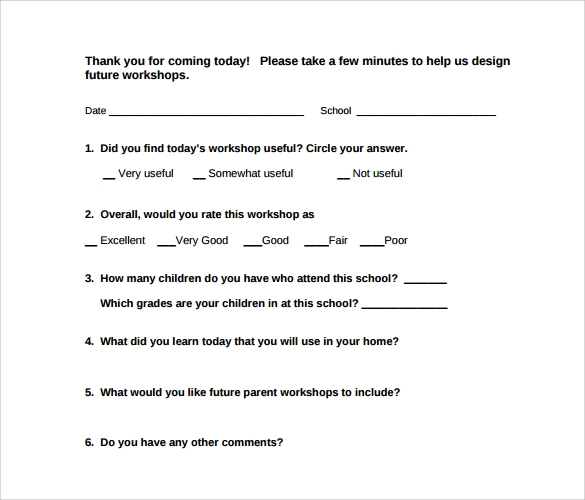 Workshop Evaluation Form - 10+ Free Download In Pdf