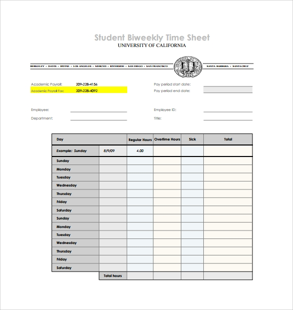 Biweekly Timesheet Template   Free Download In Pdf