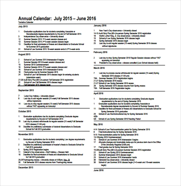 Sample Annual Calendar Template   Free Documents In Pdf