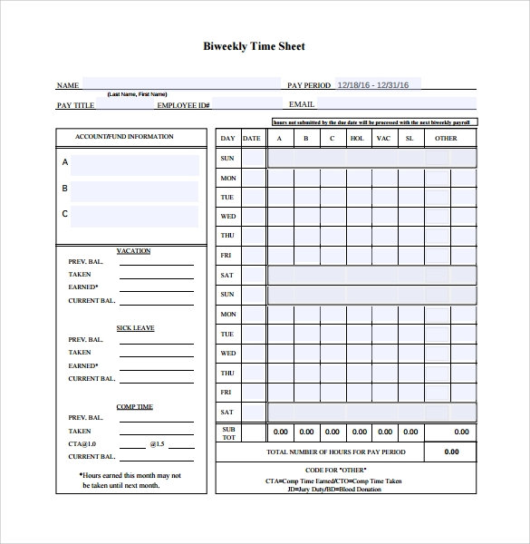 samples of timesheets