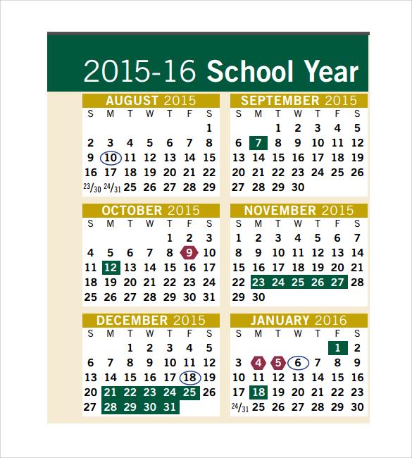simple annual calendar template