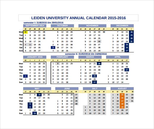 university annual calendar template