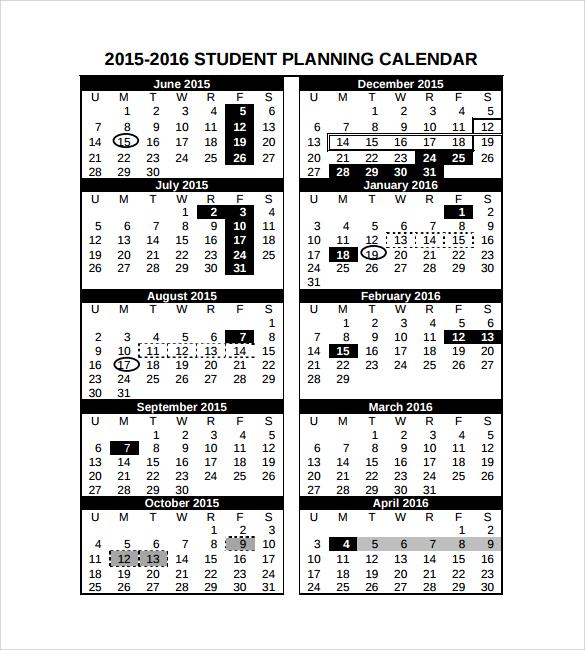 student planning calendar
