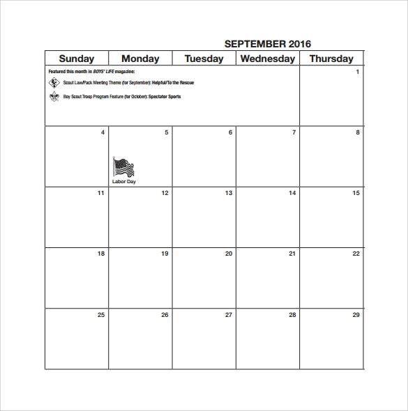 Planning Calendar Template   Download Free Documents In Pdf