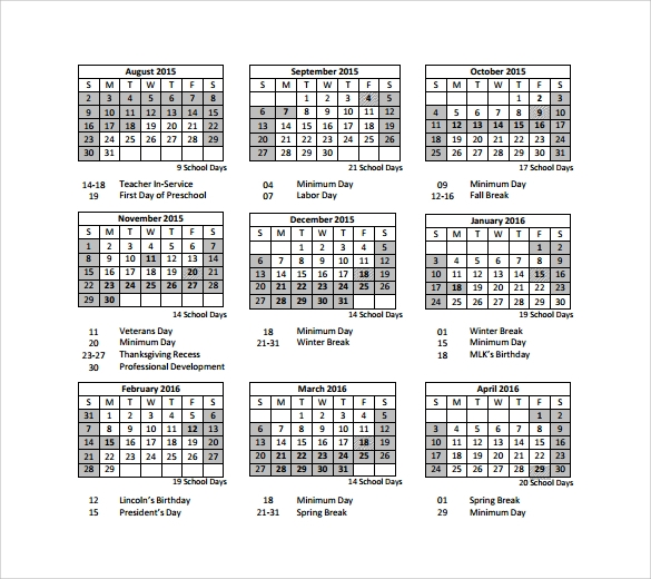 Preschool Calendar Templates 8 Download Free Documents in PDF – Sample Calendar