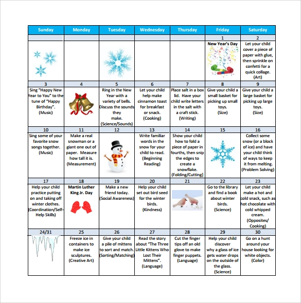 Kindergarten Calendar Of Activities : Sample preschool calendar templates to download