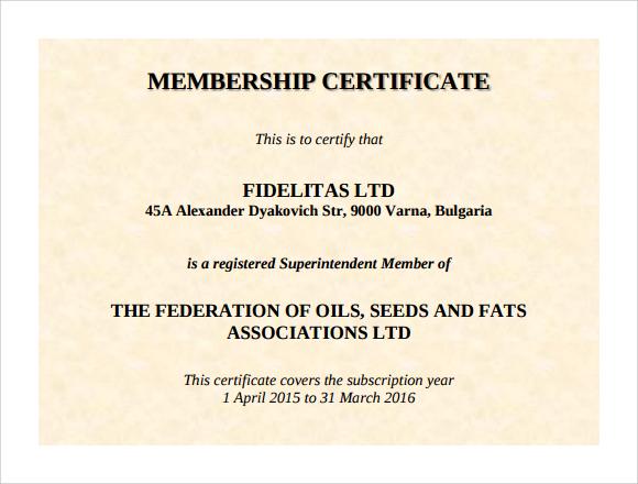 13+ Sample Membership Certificate Templates | Sample Templates