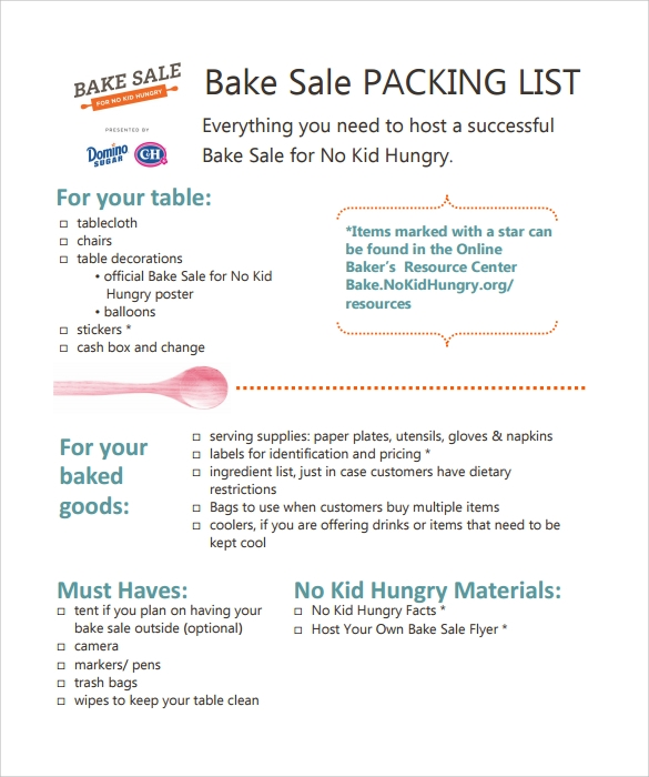 bake sale packing list