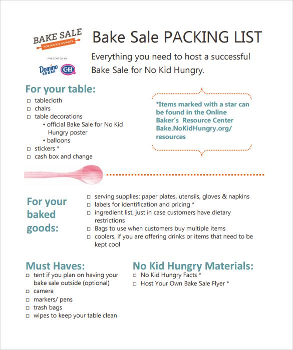 bake sale packing list