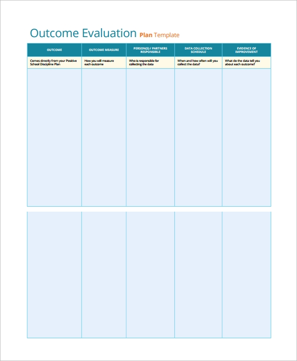 outcome evaluation plan template