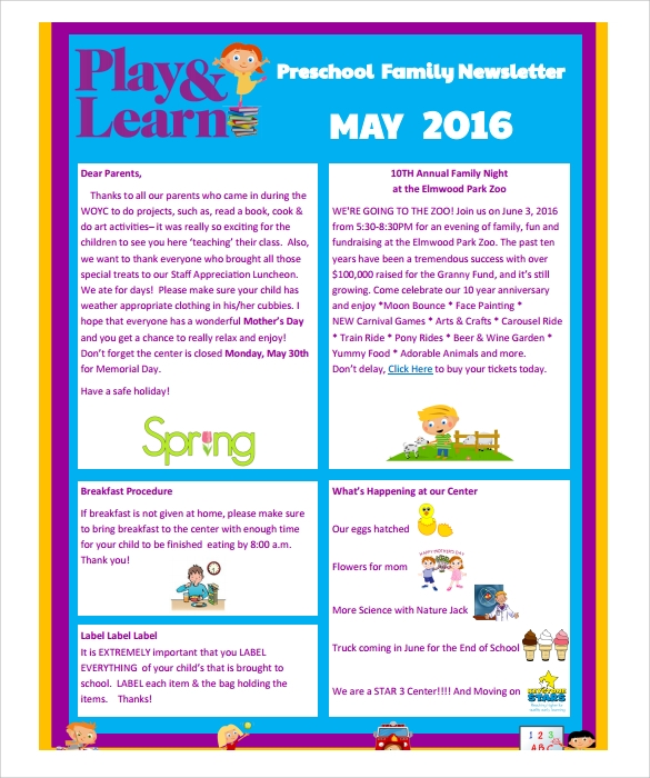 Sample preschool newsletter 8 free download for word pdf for Free editable newsletter templates