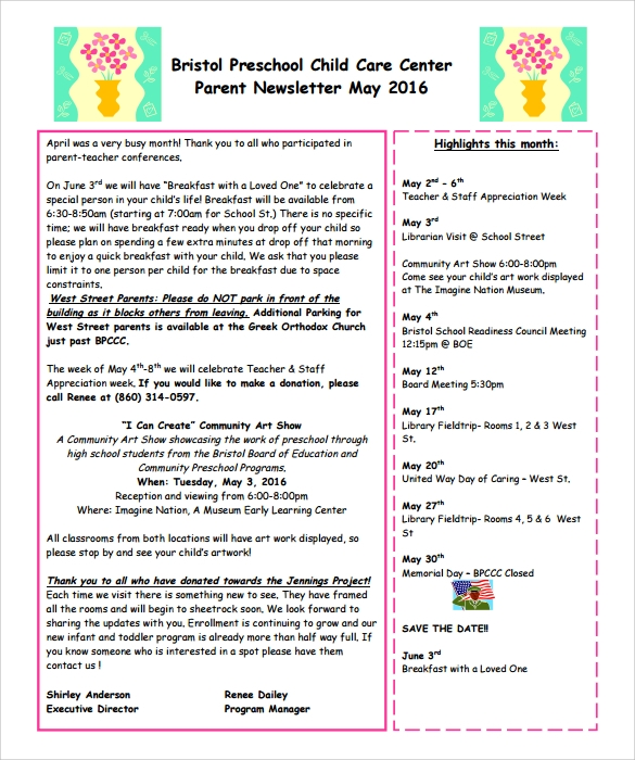 childcare newsletter templates - 6 best preschool newsletter templates to download sample