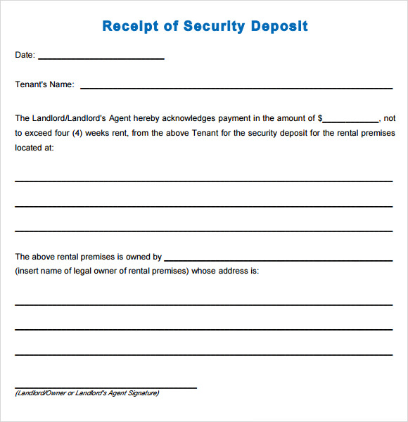 Sample Deposit Receipt 7 Free Download for PDF Word – Tenant Receipt