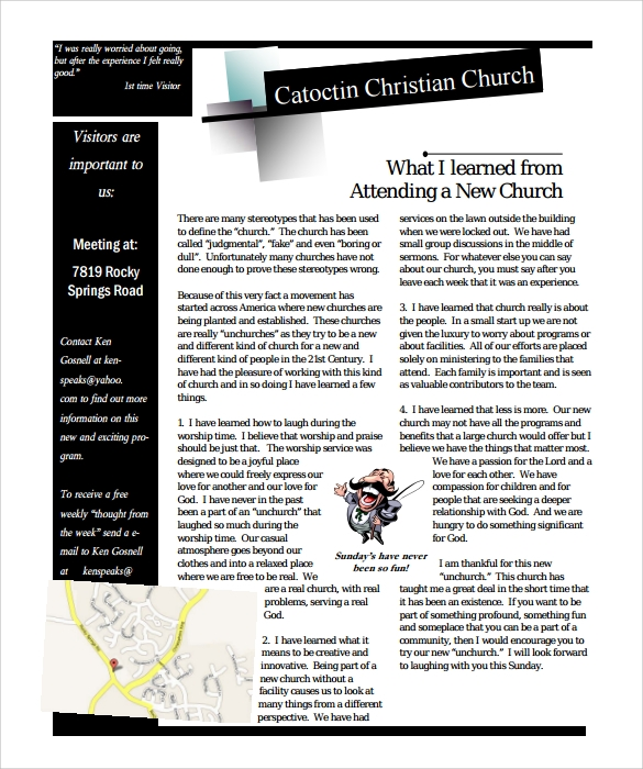 Sample Church Newsletter   Documents In Pdf