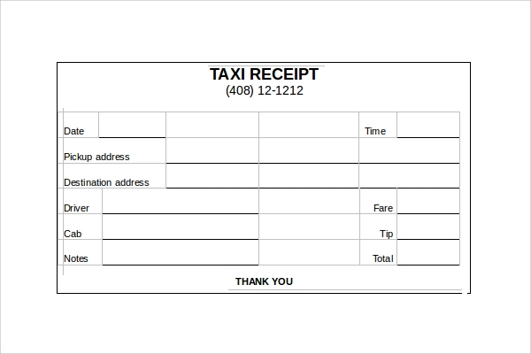 Taxi Receipt Form 9 Taxi Receipt Templates Free Samples