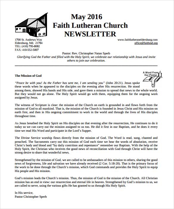 lutheran church newsletter