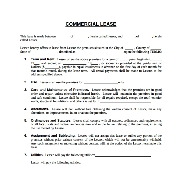 Sample Mercial Lease Agreement 6 Free Documents