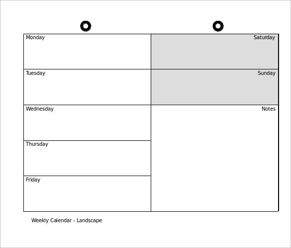 Elegant Weekly Sample Power Point Calendar Template