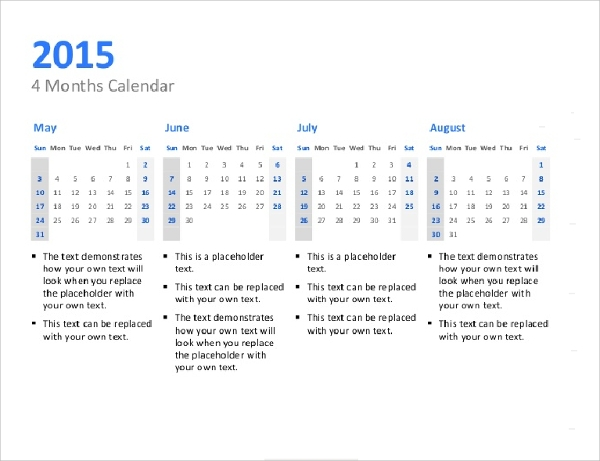 Quarterly Calendar Template. Blank Calendar Templates Sample
