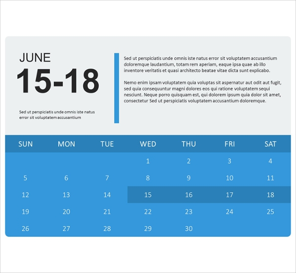 Sample Powerpoint Calendar Template   Documents In Ppt Psd