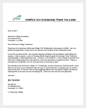 Sample Scholarship Thank You Letter Format