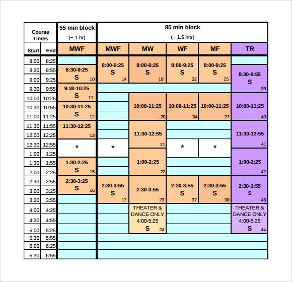 College Daily Calendar Template