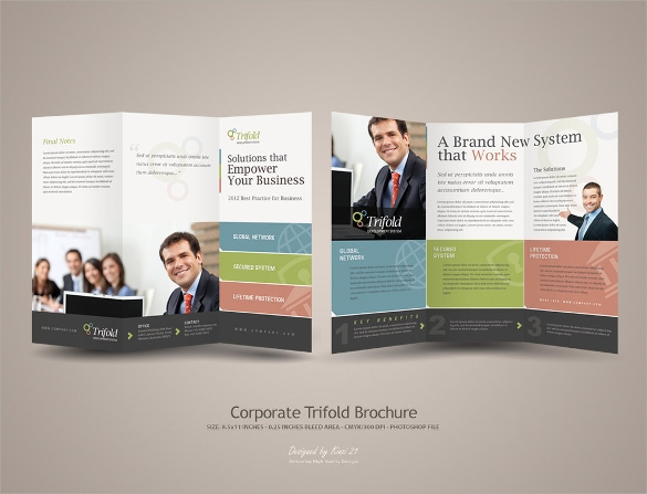 tri fold corporate brochure template