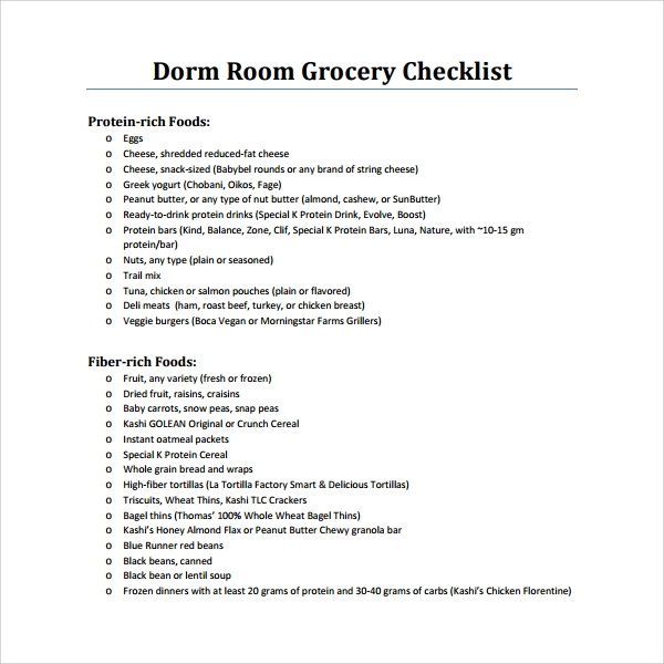 dorm room grocery checklist