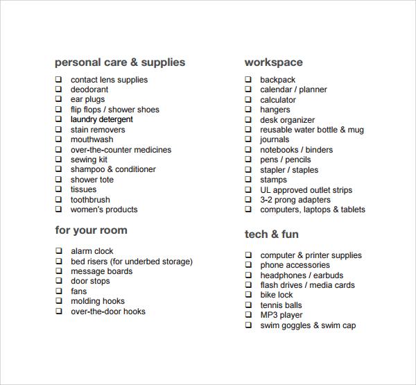 dorm room checklist free download