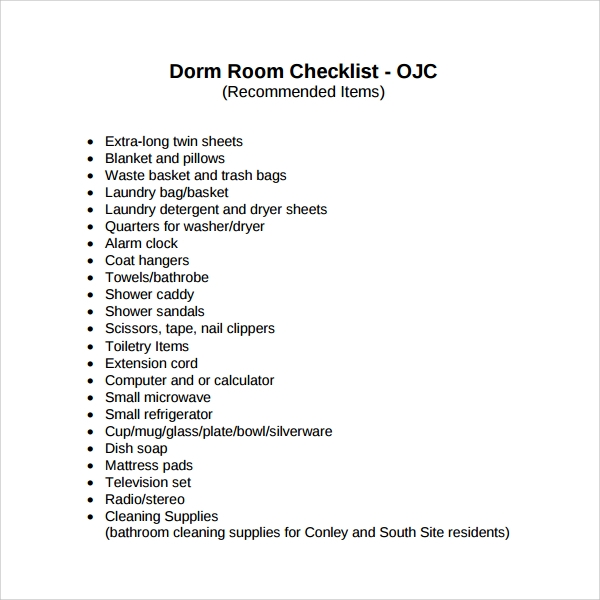 Sample Dorm Room Checklist   Documents In Pdf