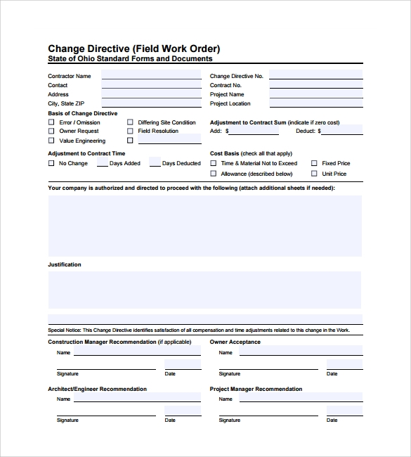Free 5 Sample Construction Work Order Forms In Pdf