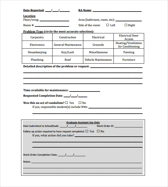 Work Request Form Work Request Southwestern University Campus