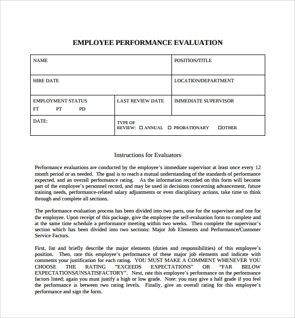 Sample Employee SelfEvaluation Form 5 Free Documents in PDF – Free Printable Employee Evaluation Form
