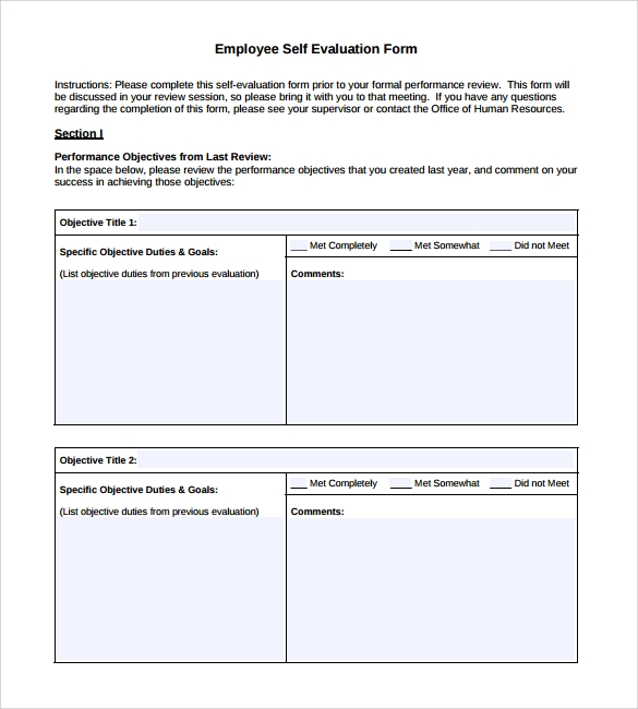 Simple Employee Self Evaluation Form
