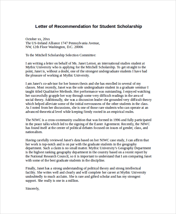 Sample letter of recommendation for scholarship 29 examples in letter of recommendation for student scholarship spiritdancerdesigns Image collections