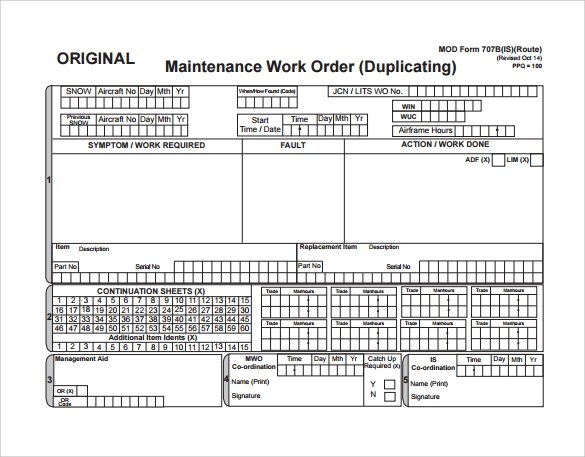 Sample Maintenance Work Order Form   Free Documents In Pdf