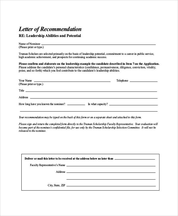 sample letter of recommendation for scholarship