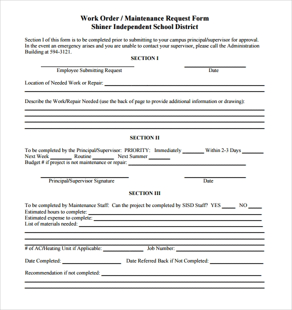 sample maintenance work order form