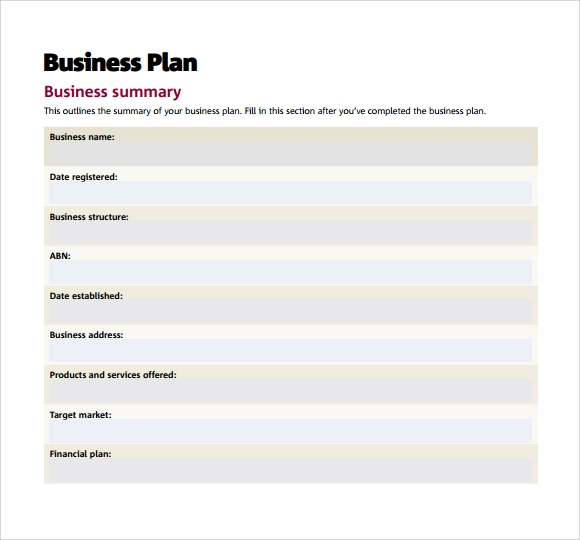 Sample Small Business Plan Documents In PDF Word - Business plan templates pdf