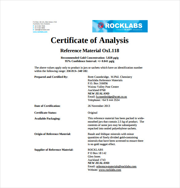Certificate Of Analysis Template 10 Free Download