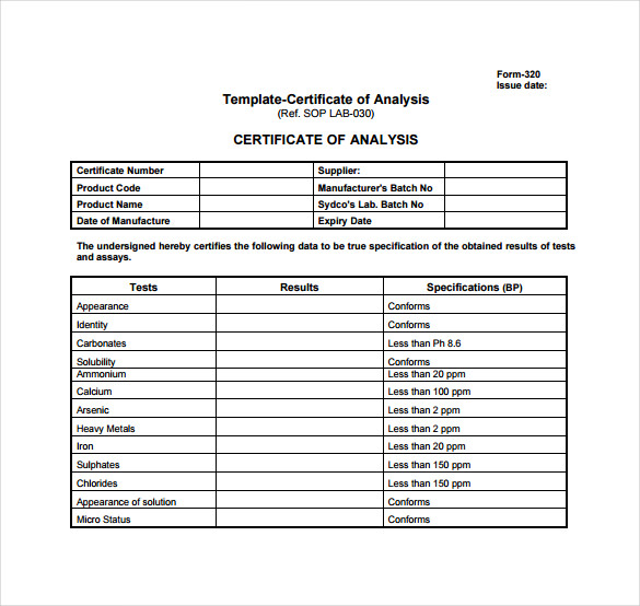 Certificate Of Analysis Template on Blank Number Line To 10