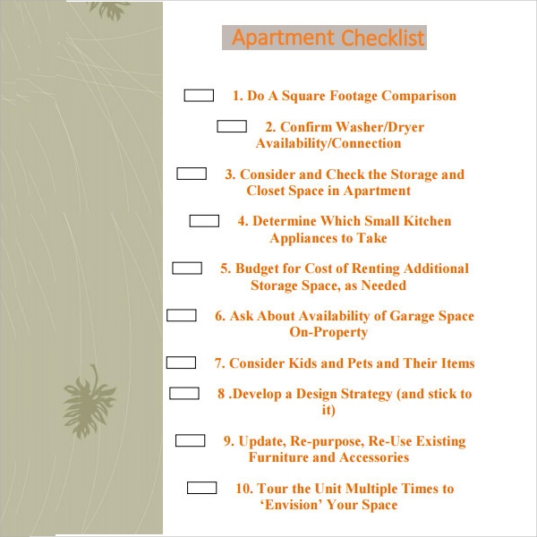 apartment checklist pdf