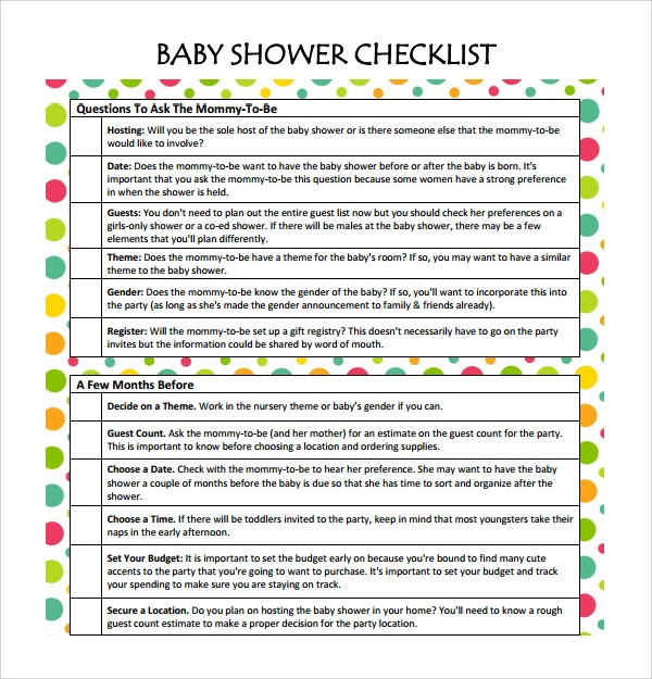 Baby Shower List Template  BesikEightyCo
