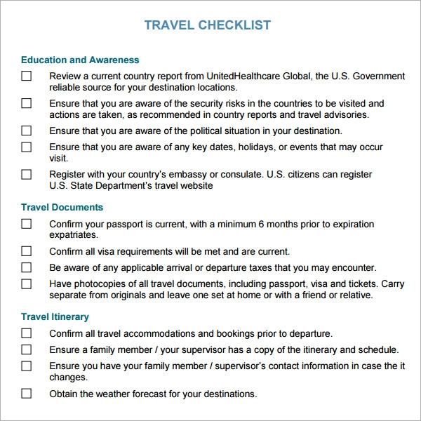 Travel Checklist Template Travel Organization At Its Finest I Could
