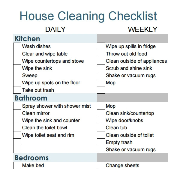 Nice House Cleaning Checklist Example
