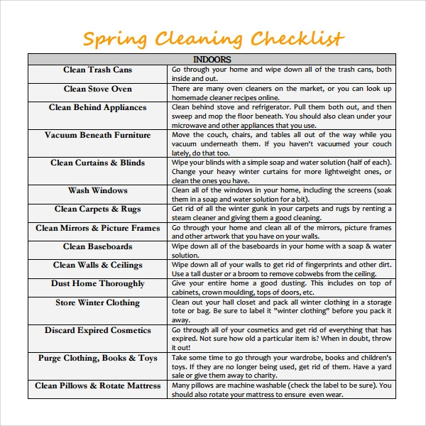 sample spring cleaning checklist