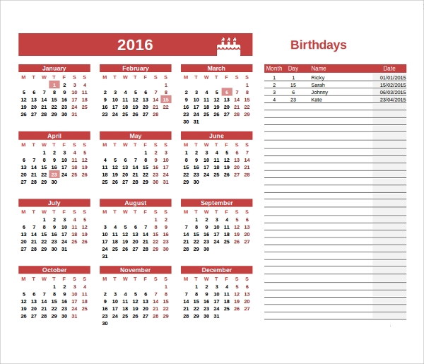 Sample Birthday Calendar Template 13 Documents In Pdf Word Psd