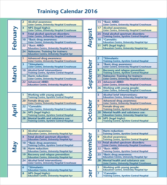 Training Calendar Template   11  Free Download for PDF Word Excel Bt0R841E