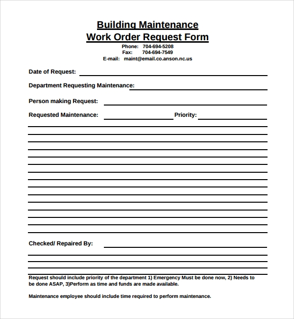 Sample Maintenance Work Order Form 6 Free Documents in PDF – Maintenance Work Order Form